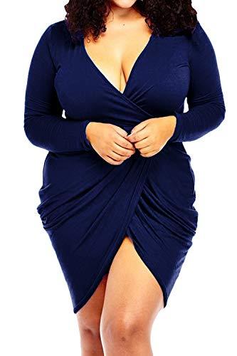 POSESHE Womens Plus Size Deep V Neck Bodycon Wrap Dress with Front Slit (3XL, Dark Blue) (Long Sleeve V Neck Dress Plus Size)