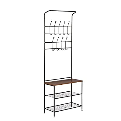 Entryway Storage Hall Tree Made of Metal and Bench With Wood Seat in Black Color With Hooks Enjoy It - This handy entryway organizer includes two levels of coat hooks to hold hats, jackets, and keys. The wood surface bench is great for setting bags, purses, or backpacks as you walk in the door. Two steel wire bottom shelves can hold several pairs of shoes or baskets for gloves, dog leashes, or accessories. Material: Metal. Storage Bench Included: Yes. Hooks Included: Yes. Assembly Required: Yes. - hall-trees, entryway-furniture-decor, entryway-laundry-room - 41srJGe19TL. SS400  -
