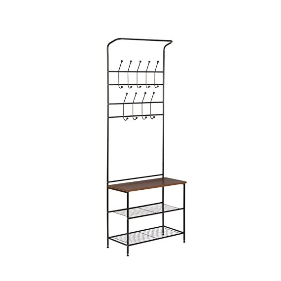 Entryway Storage Hall Tree Made of Metal and Bench With Wood Seat in Black Color With Hooks Enjoy It - This handy entryway organizer includes two levels of coat hooks to hold hats, jackets, and keys. The wood surface bench is great for setting bags, purses, or backpacks as you walk in the door. Two steel wire bottom shelves can hold several pairs of shoes or baskets for gloves, dog leashes, or accessories. Material: Metal. Storage Bench Included: Yes. Hooks Included: Yes. Assembly Required: Yes. - hall-trees, entryway-furniture-decor, entryway-laundry-room - 41srJGe19TL. SS570  -