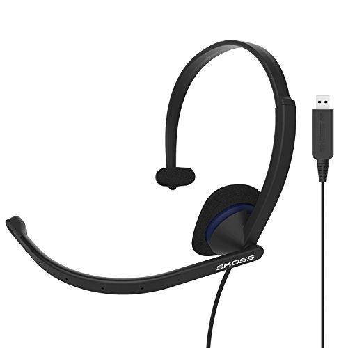 Koss CS195 USB Communication Headset Headphones | Single-Sided | USB Connection | Lightweight | D-Profile | Noise-Cancelling Electret Microphone | for Telephones and Office Phones
