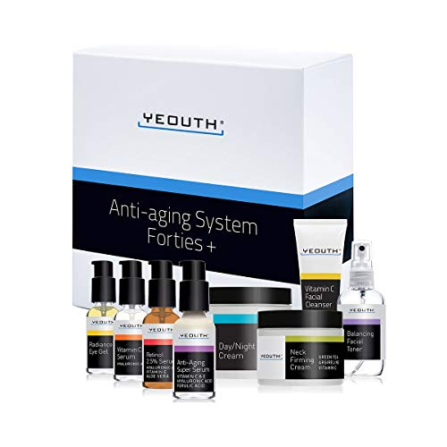 Anti-Aging Kit Forties - YEOUTH 8 Set for 40's +VIT C Facial Cleanser,Balancing Facial Toner,VIT C & E Serum,Anti Aging Super Serum,Retinol 2.5% Serum,Eye Gel,Day Night Snail Cream,Neck Firming Cream