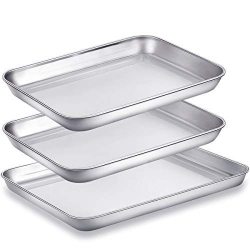 (Baking Sheet Pans for Toaster Oven, Small Stainless Steel Cookie Sheets Metal Bakeware Pan, Sturdy & Heavy Rectangle Tray by Eaninno, 10 & 9 inch, 3 Piece/Set)