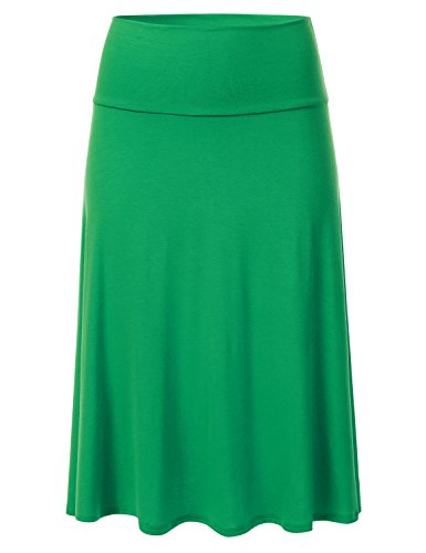 (FLORIA Womens Solid Lightweight Knit Elastic Waist Flared Midi Skirt Kellygreen)