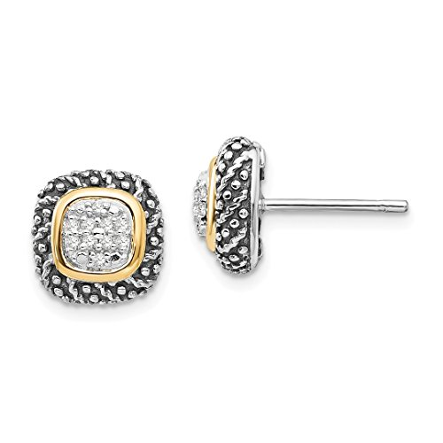 ICE CARATS 925 Sterling Silver 14k Diamond Post Stud Ball Button Earrings Fine Jewelry Gift Set For Women Heart by ICE CARATS (Image #1)