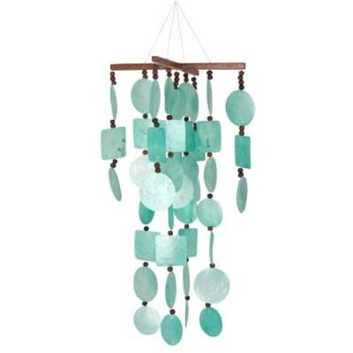 Woodstock Chimes Asli Arts Collection C160 Aqua Capiz Chime with Wood Beads Woodstock Chimes - CA
