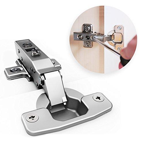 Soft Close Hinges 20 PACK - 35mm Full Overlay Self Closing Frameless Kitchen Cabinet Door Hinge - 110° Degree - Include Screws - Nickel Plated Finish (Cabinet Door Screws)