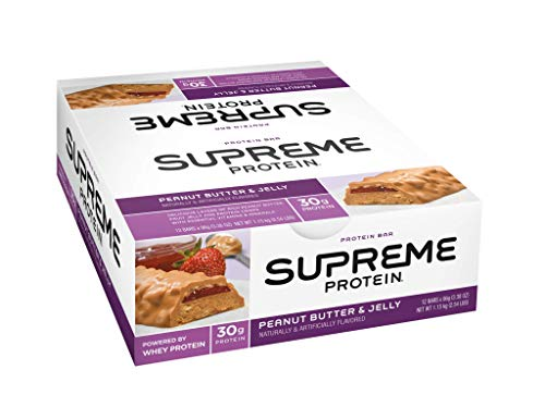 Supreme Protein 30g Protein Bar, Peanut Butter & Jelly, 3.38 fl oz, (12 Count)