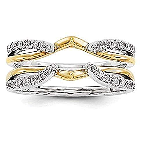 tusakha 1/4 ct Simulated Diamond Enhancer Solitaire Engagement Ring 14k Two Tone Gold Plated Guard Wrap Jacket (6)