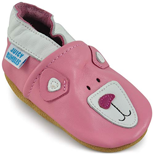 Soft Leather Baby Girl Shoes - Baby Shoes with Suede Soles Pink Bear