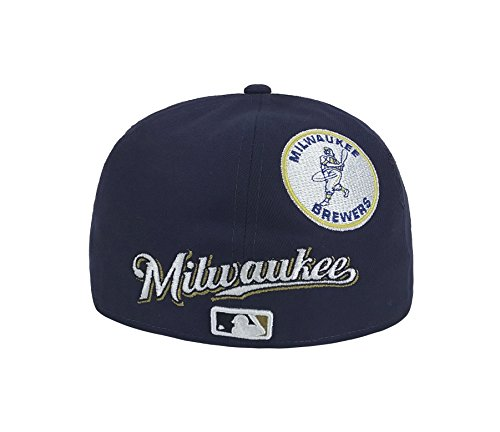 finest selection 14a8b c41d3 ... wholesale new era 59fifty hat mlb milwaukee brewers heritage patchd up  navy blue cap at amazon