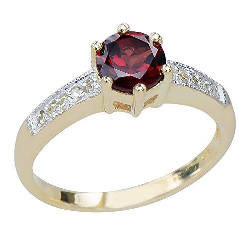 Caratera Fine Gold Jewelry Intricate Women's Natural Garnet Gemstone 9K Yellow Gold Diamond Promise Ring 9k Yellow Gold Garnet Ring