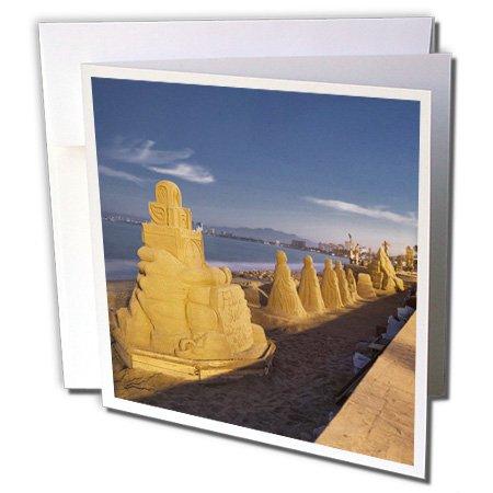 3dRose Mexico, Puerto Vallarta, Beach sand sculpures - SA13 DSV0059 - David Svilar - Greeting Cards, 6 x 6 inches, set of 12 (gc_86647_2)