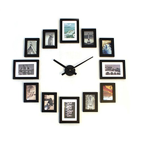 Homeloo Modern 12 Wood Wooden Photo Picture Frame Wall Clock (Full Black) by homeloo
