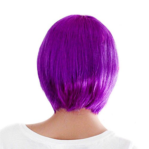 Womens Layered Bob Wigs with Bangs Cosply Classic Bob for Party Puple Wig Purple -