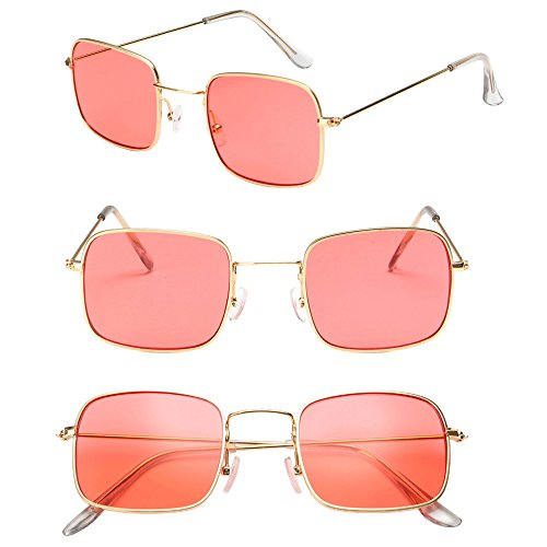 Classique Femmes Lentille Or Rouge Rectangulaire Lunettes XFentech UV400 Unisex Lunettes de soleil Mode Cadre TnvxqOZqI