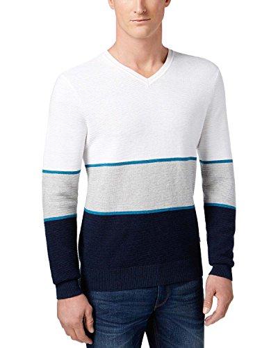 Michael Kors Mens Walden Linen Colorblock Pullover Sweater Blue L