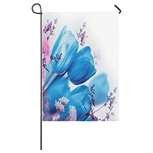 QQshiqI Custom Blue Tulips Flower Outdoor Summer Holiday Wel