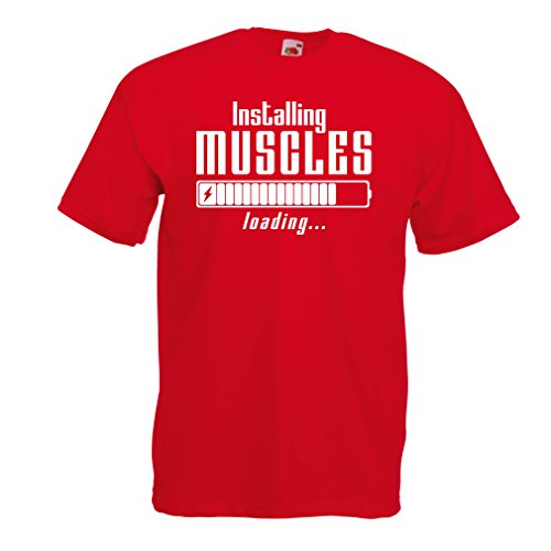 lepni.me T Shirts For Men Muscle Works Clothing - Weightlift, For Muscle Growth Masters, Vintage Design Anytime Fitness Apparel (X-Large Red White)