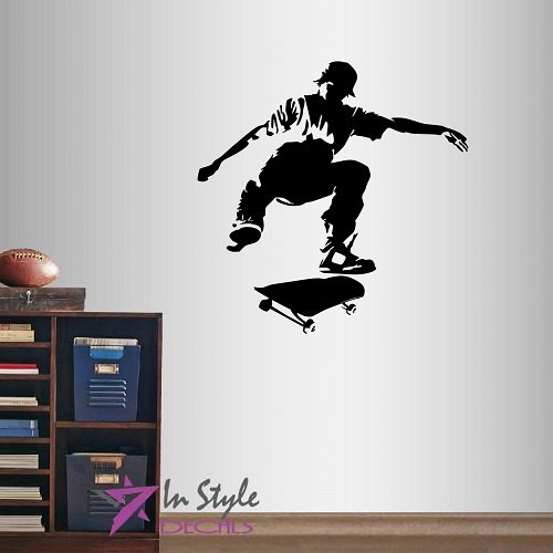 Guy Skateboarding - Wall Vinyl Decal Home Decor Art Sticker Skateboarding Extreme Sports Trick Guy Boy Teen Room Removable Stylish Mural Unique Design
