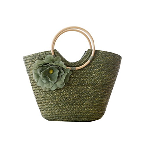 Handbag Shopper Green Straw Tote Vacation Travel Beach Bag Handbags Women Shoulder Market For Army YOUJIA xqwZFR76
