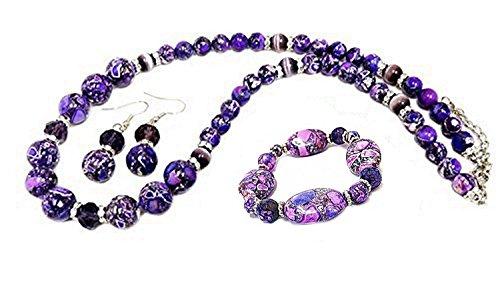 Linpeng Fiona LP030412-3N/E Lavender Collage Stones Necklace Bracelet and Earrings Set Stone Necklace Bracelet Earrings