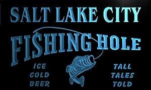 qx2175-b Salt Lake City Fishing Hole Fly Game Room Beer Bar Neon Light Sign