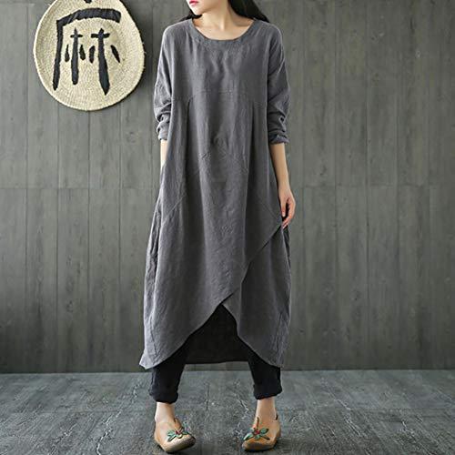 Lin Grande Vintage Taille Femmes pour Femme Baggy Coton en Longues Longue Robe Grande Manches Taille Robe Robe Unie Couleur FeiXiang Tunique Gris et EvcZRqUWw