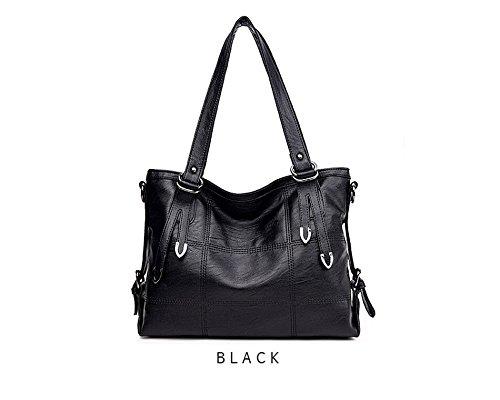 2017 New Fashion Patchwork Women Casual Shoulder Bag High Quality Black Pu Leather original Handbag Vintage Stitching Crossbody Bag sac ( Color Black)