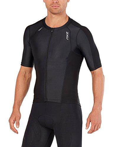 2XU Mens Compression Sleeved Tri Top, Black/Black, Large