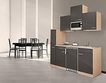 Miniküche Mit Kühlschrank 180 Cm : Respekta single küche küchenzeile küchenblock cm buche grau