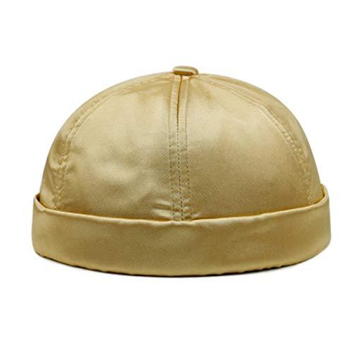 Ez-sofei Men's Retro Chinese Style Rolled Cuff Skull Caps Brimless Beanie Hat (C-Gold Tone) -