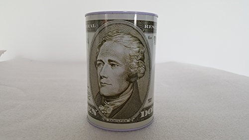 10 Dollar Alexander Hamilton bill tin money bank, bank note tin metal money box, money box, Coin Bank. 6.5