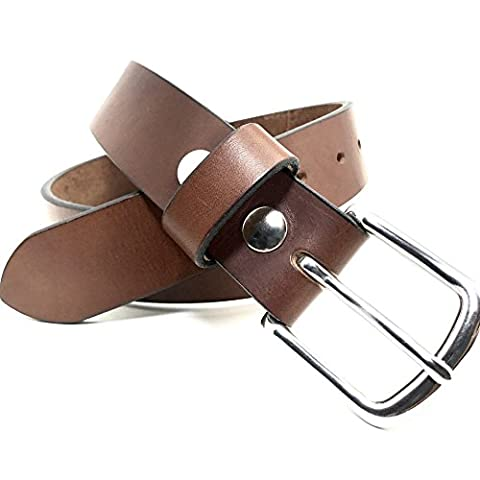 Distressed Brown Bridle Leather Belt - Handmade Full Grain Custom Removable Simple Buckle Mens (Nine Naturals Conditioner)
