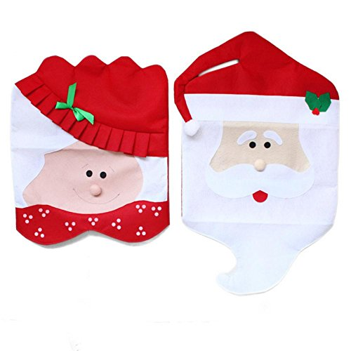 DegGod Set of 2 Mr & Mrs Cubiertas de la Silla Santa Claus Cena sillas Fundas Navidad Decoracion para Mesa de Comedor (2 Santa Claus Chair Covers)