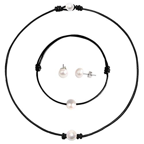Single Pearl Choker Necklace - Genuine Leather Cord Handmade Jewelry Set for Women, Necklace, Bracelet, Stud Earrings (14)