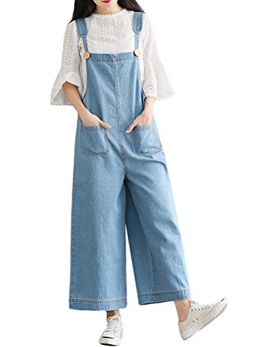 MatchLife Femmes Casual Jeans Salopette Pantalon Style4 Bleu Clair