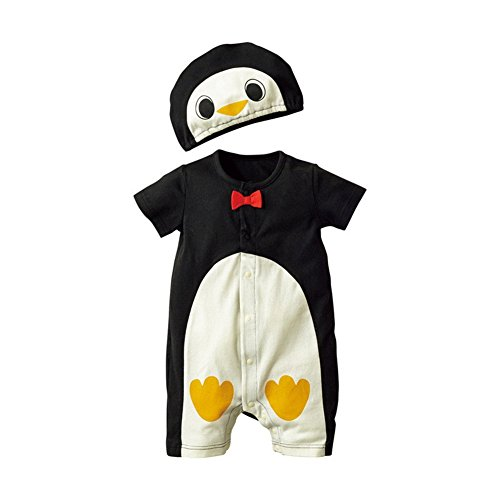 Jojobaby Baby Unisex 2Pcs Baby Clothes Fruit / Animal Bodysuit With Hats (90(9-12 Months), Penguin) (Infant Baby Fleece Bubble Romper)