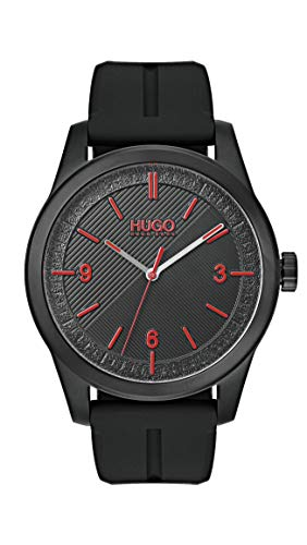 Hugo Men's #Create Quartz Black IP and Rubber Strap Casual Watch, Color: Black (Model: 1530014) ()