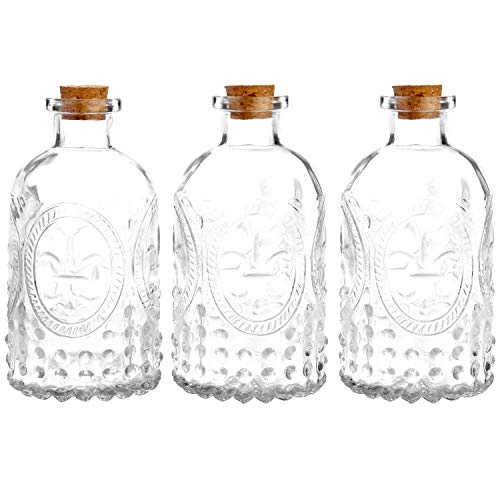 (MyGift Set of 3 Antique-Style Clear Glass Embossed Apothecary Bottles with Cork Lids)