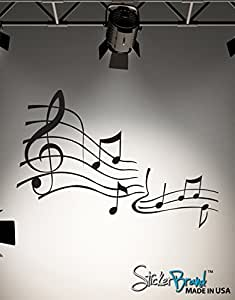 "Stickerbrand© Music Vinyl Wall Art Music Notes Wall Decal Sticker - Black, 27"" x 39"". Easy to Apply & Removable."