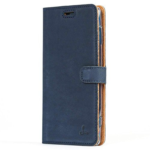 Sony Xperia XZ2 Case, Snakehive Genuine Leather Wallet with Viewing Stand and Card Slots, Flip Cover Gift Boxed and Handmade in Europe by Snakehive for Sony Xperia XZ2 - Navy Blue