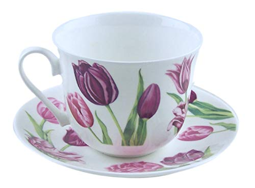 Roy Kirkham Lavender Tulip Chintz English Chintz Breakfast Set - Tea Cup and Saucer Set Fine Bone China ()