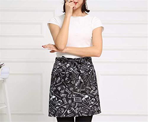 YXDZ (2 Pieces Cafe Kitchen Chef Half-Length Apron Men's Western Restaurant Waitress Workwear Apron Fashion Loin E]()
