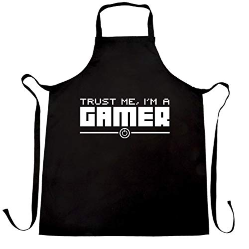 Gaming Chef's Apron Trust Me, I'm a Gamer Slogan Black One Size