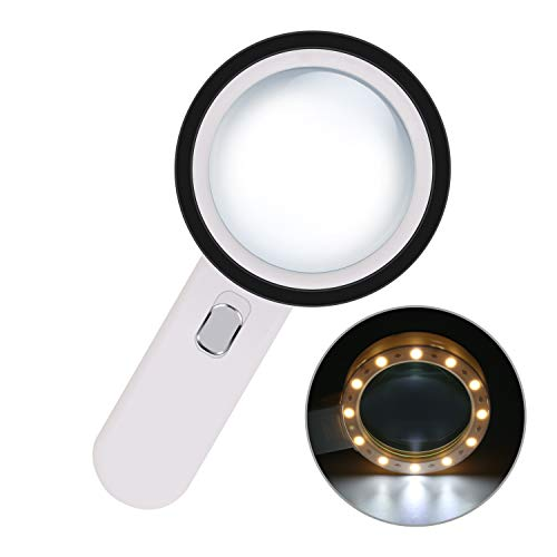 Magnifying Glass with Light - 30x Handheld Magnifier - 12 LED Lighted Magnifying Glass for Seniors Reading, Insects, Inspection, Coins, Jewelry, Exploring, Map,Crossword Puzzle