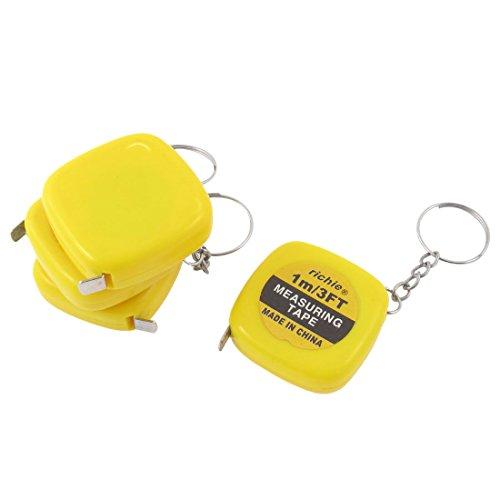 4pcs Yellow Square Keyring Retractable Steel Ruler Tape Measure 1M/3Ft (Key Ring Measuring Tape)