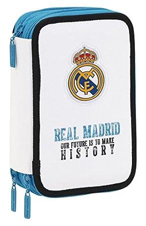Real Madrid- Plumier Triple 41 Piezas (SAFTA 411754057), ampuacutenico