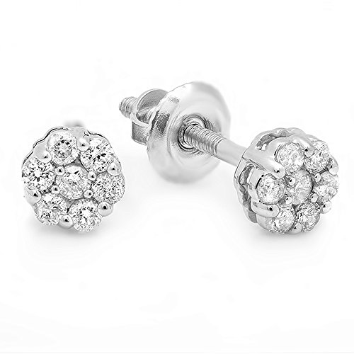 0.20 Carat (ctw) 14K White Gold Round White Diamond Ladies Cluster Flower Earrings 1/5 CT ()