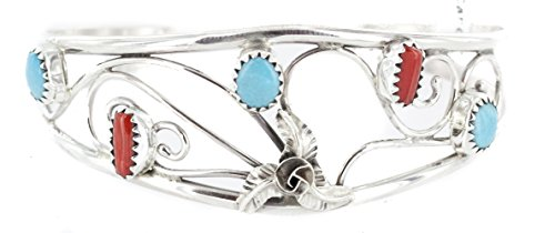 ndmade Authentic Silver Navajo Natural Turquoise and Coral Native American Bracelet ()