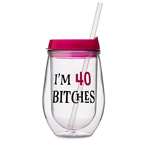 40th Birthday Wine - I'm 40 Bitches - 10 oz Adult Sippy Cup Acrylic Double Wall Insulated Wine Tumbler with Lid